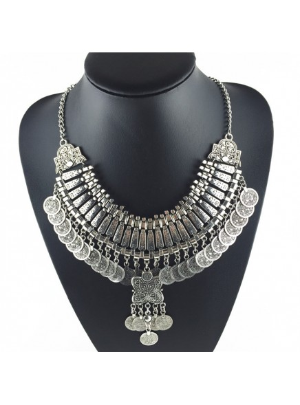 2016 hot tassel exaggerated long Silver Coin necklace women fashion statement necklaces & pendants for women fashion jewelry