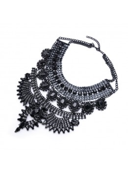 Fashion Women 2016 Necklace Pendant Collier Femme Bib Statement Collar Vintage Choker Big Chunky Black Maxi Silver Crystal