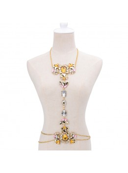 Fashion 2017Choker Collar Luxury Flower Body Long Silver Chain Fashion Crystal Rhinestone Necklace Pendant Set Statement Collier