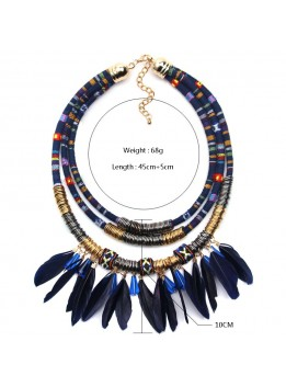 Bohemian Necklace for Women Feather Necklace With Earrings Exo Cloth Pipes Metal Chain Statement Necklace collares mujer