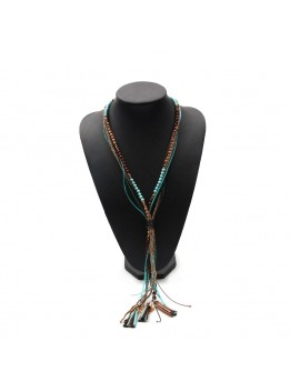 Bohemian Style Multilayer Rope Beads Chain Long Leather Pendant Necklace For Women 2016 Fine Jewelry Collares Statement Necklace