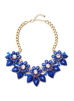 2017 Blue Resin Flower Necklace Gold Plated Chain Choker Statement Necklaces Pendants Rhinestone Bib Collar Factory Price