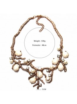 Statement necklaces & Pendants Metal Chain Tree Shape Romantic Choker Necklace Simulated Pearl Necklace Fashion Jewelry