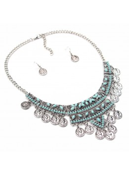 2016 Fashion Statement necklaces Gypsy Bohemian Boho Jewelry Antique coin Turquoise Beads inlaied Coins Necklace For Women