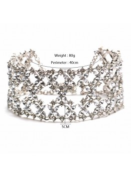 Gothic Punk Silver Rhinestone choker 2017 statement necklaces for women big Fashion necklace Collar Chunky Necklace Collier