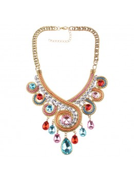 2016 Luxury New Crystal Flower Necklace Gold Chain Choker Statement Necklaces Pendants Rhinestone Bib Collar