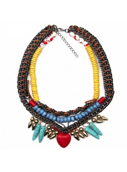 2016 Big Brand Z Necklaces Fashion Bohemia Style Vintage Necklaces & Pendants Red Heart Shape Luxury Collar Statement Necklace