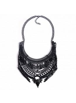 Hot 2016 Black Women Necklace Pendant Collier Femme Collar Statement Bijoux Fashion Female Crystal Jewelry Choker Maxi Vintage