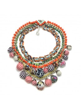 Woman Fashion Jewelry 2016New ZA Pendant Necklace Bohemian Ball Statement Necklace Multi Color Rope Chain Chunky Choker Bib