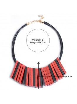 Leather Chain Fashion Women 2016 Necklace Pendant Collier Femme Collar Geometric Choker Costume Maxi Wood Jewelry Accesory