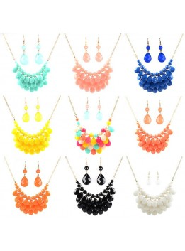 11 Colors 2016ZA Fashion Necklace Pendant Statement Necklace Resin Bead bib Bubble Multilayer Water Drop Necklace Earrings Set