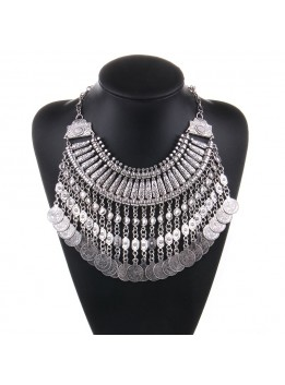 New Vintage American Brand Silver Vintage Round Zinc Coin Tassels Choker statement necklaces & Pendants Collar women Jewelry