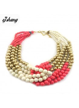 2016 Summer Hot Fashion Jewelry Chunky Beads Necklace Exaggerated Choker Boho Bijoux Femme Women Multi Layer Necklace Maxi