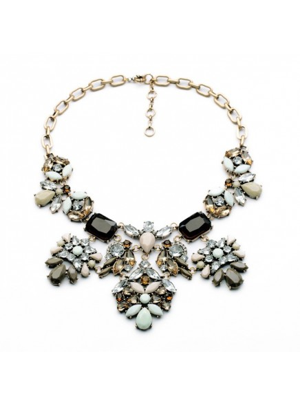 2016 High Quality New Brand Necklace and Pendant Women Jewelry Fashion Large Glass Crystal Luxury Chunky Statement Necklace