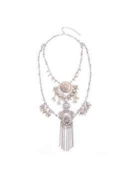 Fashion Women 2016 Vintage Peacock Necklace Pendant Retro Crystal Collier Femme Silver Tassel Collar Boho Maxi Jewelry Accesory