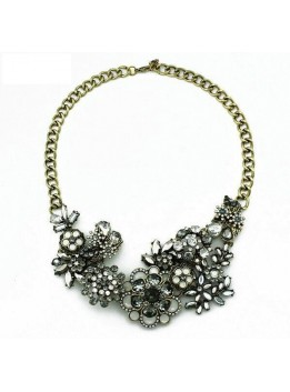 2016 High Quality New Arrive Za Brand Necklace Fashion Vintage Necklaces & Pendants Crystal Flower Statement Necklace Women